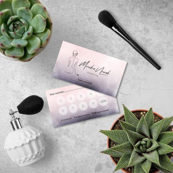 fioletowo różowa karta rabatowa do salonu urody