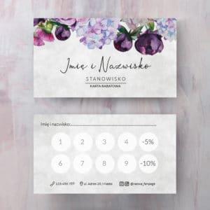 karta rabatowa z fioletowymi kwiatami do salonu urody
