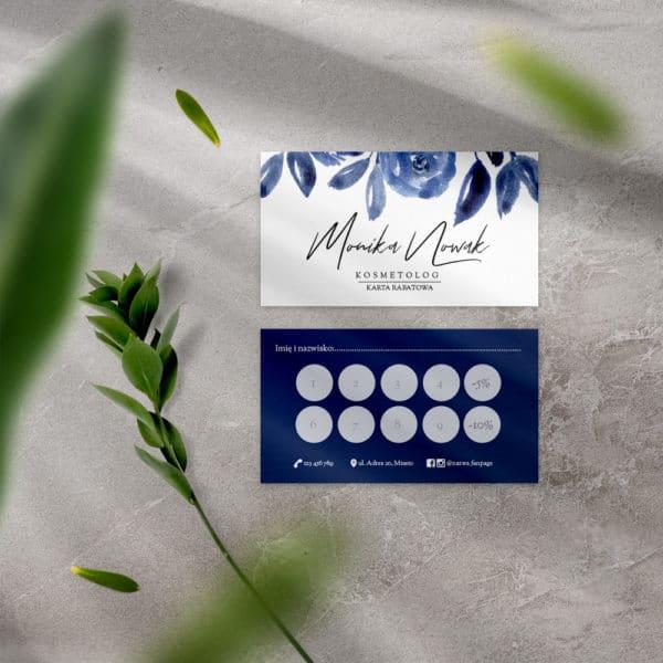 karta rabatowa z granatowymi kwiatami do salonu urody