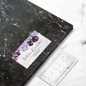 karty rabatowe do salonu urody w fioletowe kwiaty