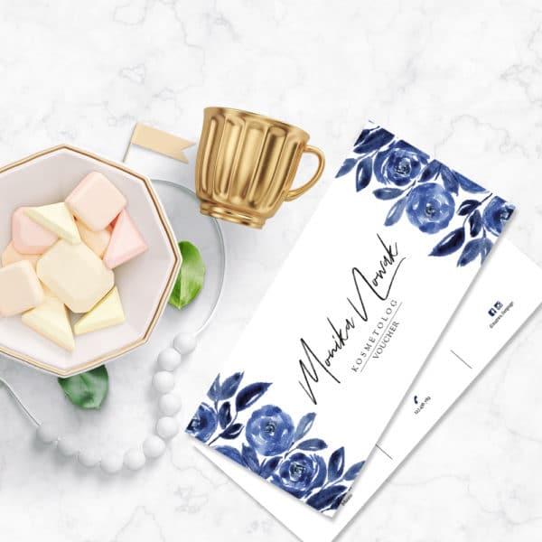 kobaltowe kwiaty voucher dla kosmetologa