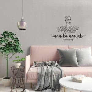 logo do studia urody kobieta i kwiaty na ścianę