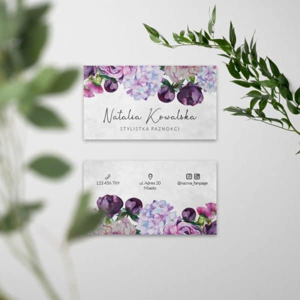 malowane kwiaty wizytówka do salonu piękności