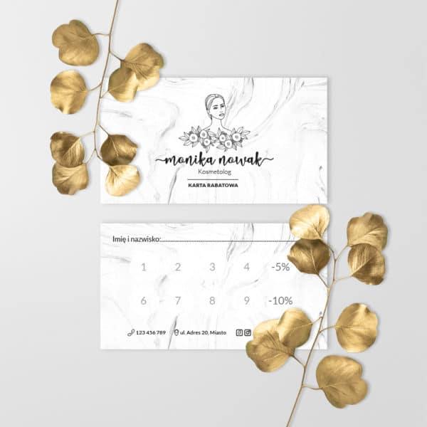 marmurkowa karta rabatowa z minimalistycznym rysunkiem kobiety dla kosmetologa