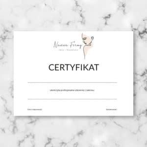 minimalistyczny certyfikat na szkolenia dla kosmetyczek