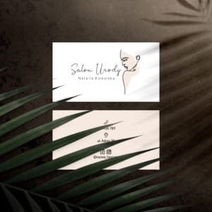 minimalistyczny rysunek kobiety wizytówka dla kosmetologa