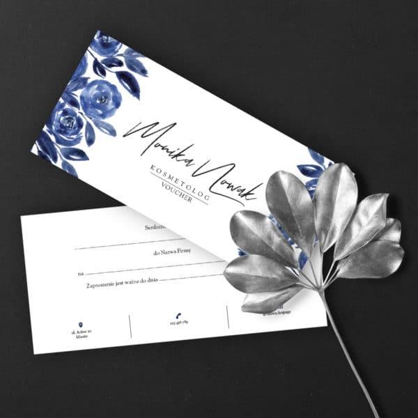 niebieskie kwiaty voucher dla stylistki paznokci
