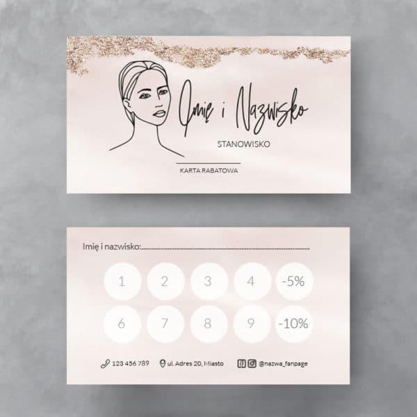 pastelowa karta rabatowa z twarzą kobiety do salonu urody
