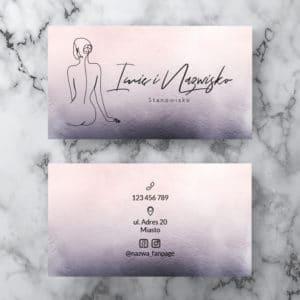 pastelowe wizytówki z rysunkiem kobiety do salonu urody