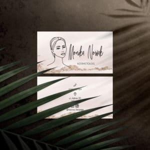 różowa wizytówka z rysunkiem kobiecej twarzy do salonu urody