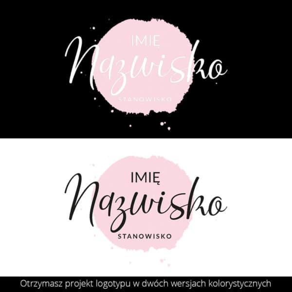 logo do salonu urody z różową plamą