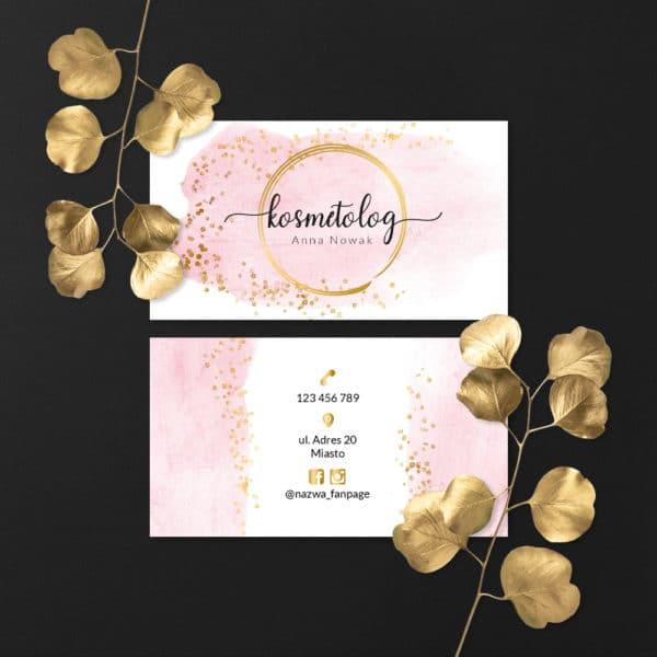 wizytówki do salonu urody ze złotym logiem i różową plamą