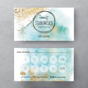 karty rabatowe dla fryzjerów z abstrakcją