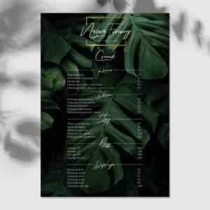 plakat z cennikiem i monsterami do gabinetu kosmetycznego
