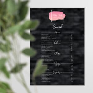 plakat z cennikiem w stylu glamolur do gabinetu urody