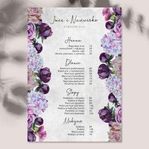 botaniczny plakat z cennikiem do salonu urody