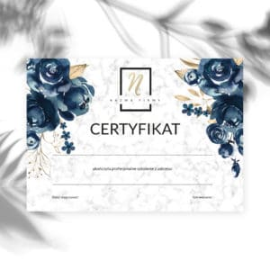 certyfikaty ukończenia szkolenia granatowe kwiaty