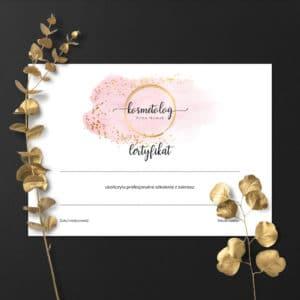certyfikaty na szklenia dla stylistek paznokci różowo złote