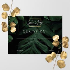 certyfikaty ukończenia szkolenia dla kosmetologów z monsterami i złotym logiem