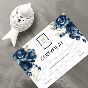 certyfikaty ukończenia warsztatów z granatowymi kwiatami