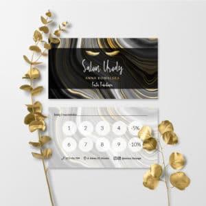 karty rabatowe do studia urody z rzęsami w kolorze złota