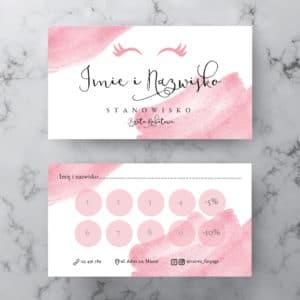różowe karty rabatowe dla stylistki rzęs