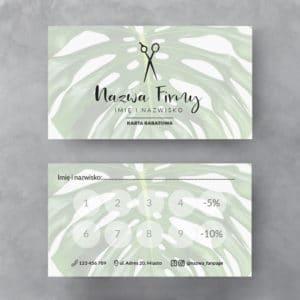 karty rabatowe tropikalne liście do salonu fryzjerskiego