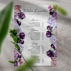 cennik w fioletowe kwiaty do salonu fryzjerskiego