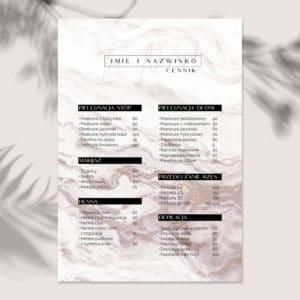 plakat z cennikiem dla kosmetologa
