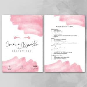 ulotka w różowe plamy z cennikiem stylistki rzęs