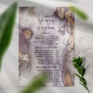 plakat cennik fioletowy marmur dla kosmetologa