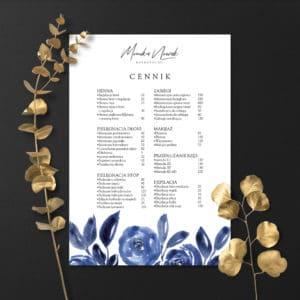 plakaty cenniki niebieskie kwiaty do salonu fruzjerskiego