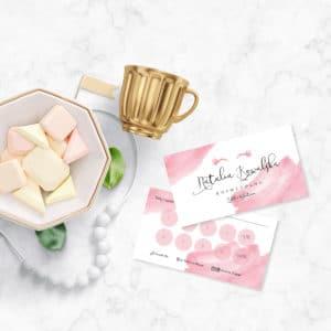 karty rabatowe do salonu urody w kolorze różowym