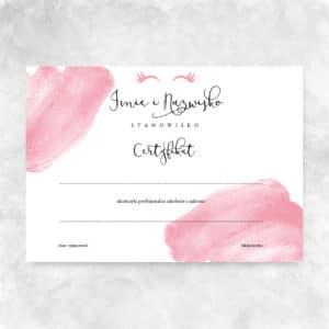 pastelowo różowe certyfikaty na szkolenia dla kosmetologów