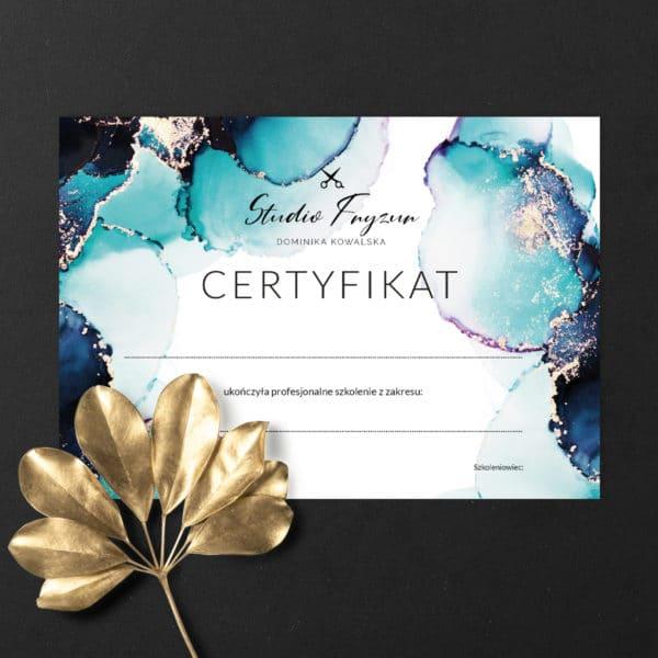 certyfikaty na szkolenia w turkusowo złote plamy