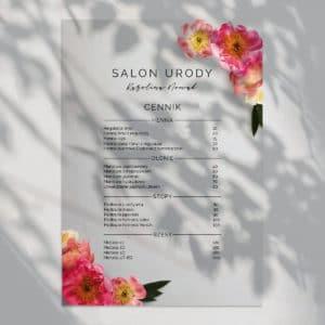 cennik do gabinetu kosmetycznego kwiaty