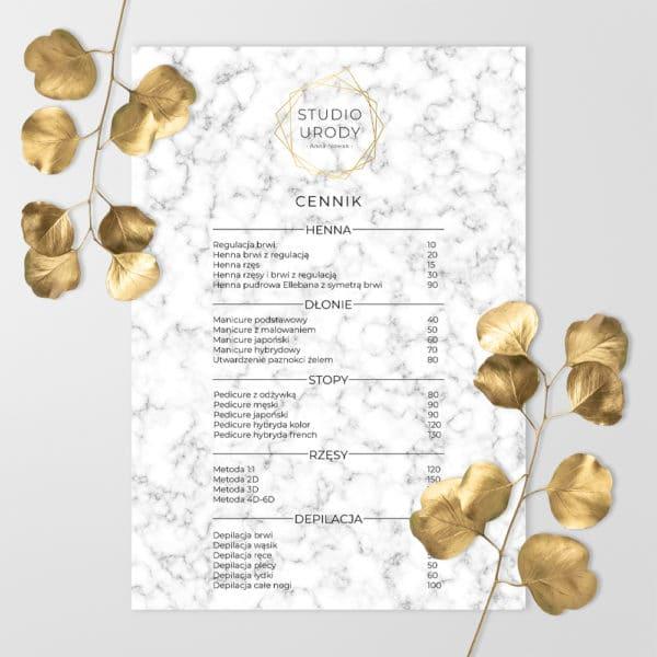 cennik do salonu kosmetycznego złote logo