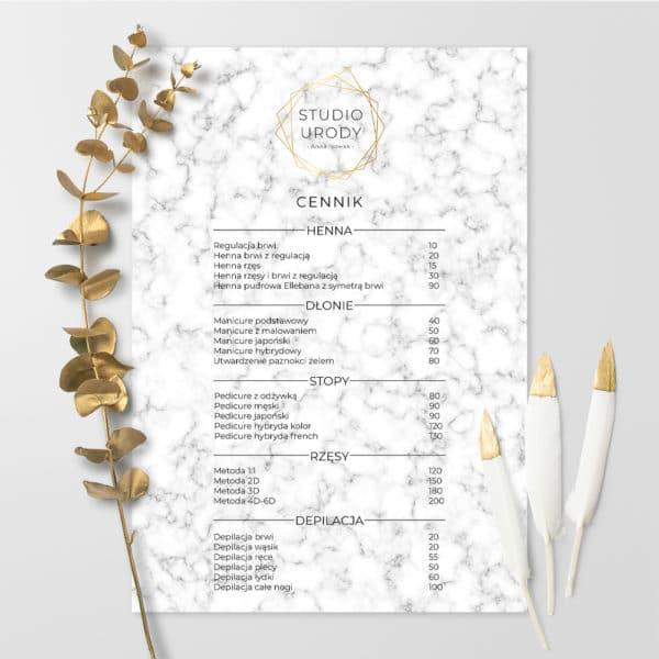 cennik do salonu urody biały marmur i złote logo