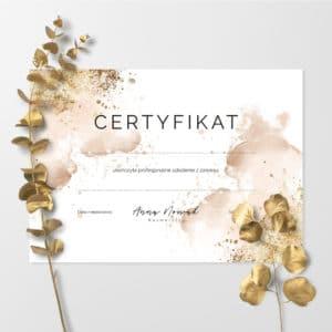 certyfikaty ukończenia szkolenia złote plamy
