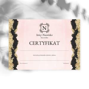 certyfikaty na szkolenia logo art deco