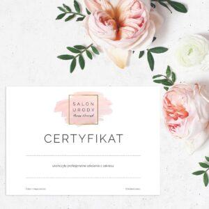 certyfikat ukończenia szkolenia do salonu urody
