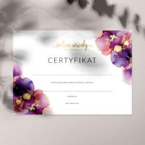 certyfikaty ukończenia szkolenia złote logo i plamy