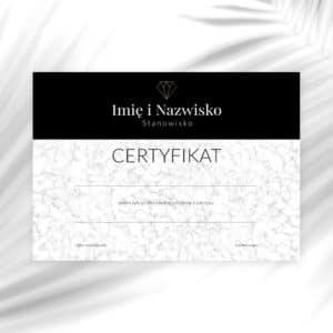 certyfikat na szkolenia dla kosmetologów ze złotym diamentem