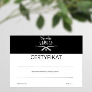 certyfikat ukończenia warsztatów do salonu urody