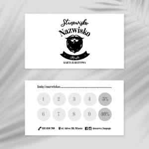 karty rabatowe barber czarno-białe