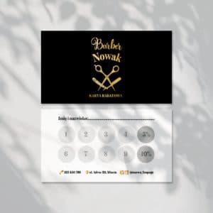 karty rabatowe barber złote logo