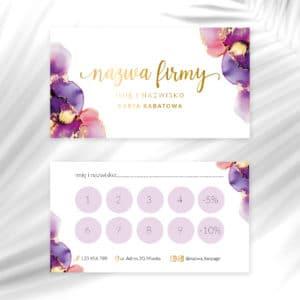 karty rabatowe dla fryzjera fioletowe plamy