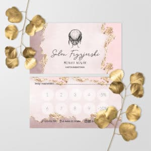 karty rabatowe dla fryzjerów brudny róż
