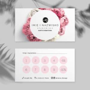 karty rabatowe dla kosmetologa piwonie