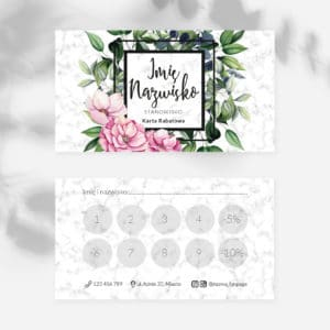 karty rabatowe dla kosmetyczki botaniczne